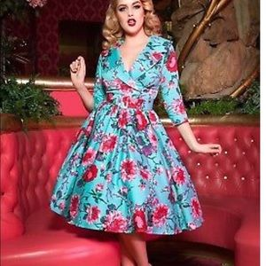 Pinup Couture 1950s Style Birdie Dress Turquoise